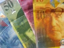Francks del suizo de los billetes de banco Foto de archivo libre de regalías