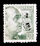 Franco, General, serie, circa 1940. MOSCOW, RUSSIA - MAY 15, 2018: A stamp printed in Spain shows Franco, General, serie, circa 1940 stock photography