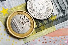 Franco suíço contra o euro Foto de Stock