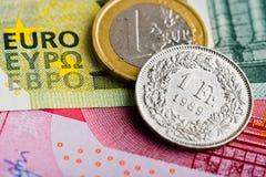 Franco suizo contra euro imágenes de archivo libres de regalías