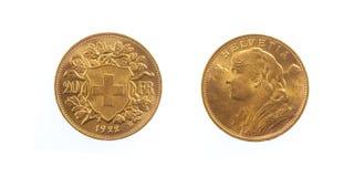 Franco suizo de oro Helvecia Foto de archivo libre de regalías