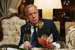 Franco Zeffirelli at a Moscow restaurant Royalty Free Stock Image