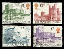 Francobolli del castello della Gran-Bretagna Fotografia Stock Libera da Diritti