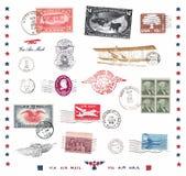 Francobolli ed etichette dagli Stati Uniti Fotografia Stock