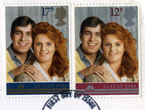 Francobollo britannico che commemora nozze reali Fotografie Stock Libere da Diritti