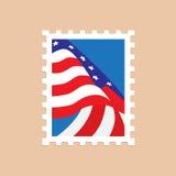Francobollo con la bandiera americana Fotografie Stock