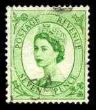 Francobollo d'annata della regina Elizabeth II Fotografia Stock Libera da Diritti