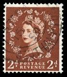 Francobollo d'annata della regina Elizabeth II Fotografie Stock Libere da Diritti