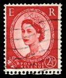 Francobollo d'annata della regina Elizabeth II Fotografia Stock
