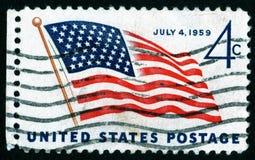 Francobollo degli S.U.A. il 4 luglio Immagini Stock