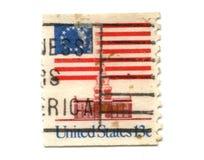 Francobollo degli Stati Uniti su priorità bassa bianca Immagine Stock