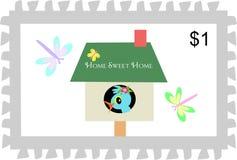 Francobollo del Birdhouse domestico dolce domestico Fotografie Stock Libere da Diritti