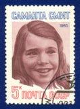Francobollo dell'URSS con il ritratto della Samantha Smith Fotografie Stock
