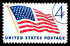 Francobollo della bandiera americana Fotografia Stock