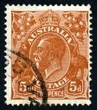 Francobollo di re George V Australian Fotografie Stock