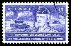 Francobollo di U.S.A. che onora generale George S Patton Jr e le forze corazzate dell'esercito americano Fotografia Stock