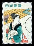 Francobollo giapponese della donna Immagini Stock