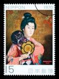 Francobollo giapponese della donna Immagine Stock