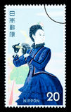 Francobollo giapponese della donna Fotografie Stock