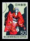 Francobollo giapponese della donna Immagine Stock Libera da Diritti