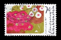 Francobollo stampato dal Liechtenstein fotografia stock