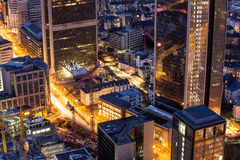 Francoforte - am - arquitetura da cidade principal de Alemanha na noite Foto de Stock Royalty Free