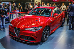 FRANCOFORTE - SEPT 2015: Alfa Romeo Giulia apresentado no interno de IAA fotografia de stock royalty free