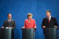 Francois Ολλάντ, Άνγκελα Μέρκελ και Petro Poroshenko Στοκ φωτογραφία με δικαίωμα ελεύθερης χρήσης