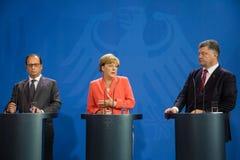 Francois Ολλάντ, Άνγκελα Μέρκελ και Petro Poroshenko Στοκ Εικόνα