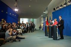 Francois Ολλάντ, Άνγκελα Μέρκελ και Petro Poroshenko Στοκ Φωτογραφία