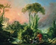 Francois Boucher - paesaggio con un tempio antico, 1762 del fiume immagini stock