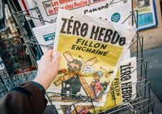 Francois Fillon karikatyr Arkivbild