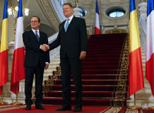FRANCOIS HOLLANDE and KLAUS IOHANNIS. Francois Hollande ( L ) the President of the French Republic pictured during an official meeting with  Romanian President Stock Images