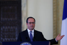 FRANCOIS HOLLANDE. The President of the French Republic pictured during an official meeting with  Romanian President Klaus Iohannis ( not present in this Royalty Free Stock Image