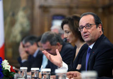 FRANCOIS HOLLANDE. ( R ) the President of the French Republic pictured during an official meeting with  Romanian President Klaus Iohannis ( not present in this Royalty Free Stock Photos