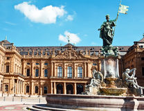 Franconia  Fountain. The Residence Palace in Wurzburg, Germany is one of Europe's most renowned baroque castle and it is registered as a UNESCO World Cultural Stock Photo