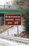 Franconia, NH, highway sign on Ski Route 93. Royalty Free Stock Image