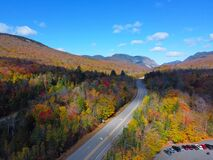 Franconia Notch in fall aerial view, New Hampshire, USA