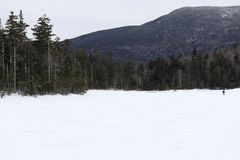 Franconia Notch State Park Lonesome lake. Lonesome lake in Franconia Notch State park, Franconia New Hampshire.  Frozen solid this winter Royalty Free Stock Images