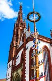 Franconian maypole in front of the Marienkapelle in Wuerzburg, Germany Stock Photo