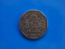 2 francos de moneda, Francia sobre azul Foto de archivo libre de regalías