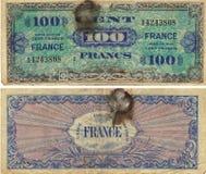 100 francos de nota 1944 Foto de Stock