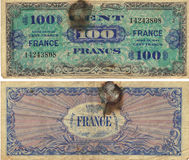100 francos de nota 1944 Foto de archivo