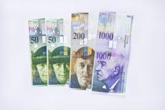 Francos suíços das cédulas Imagens de Stock Royalty Free