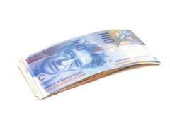 Francos suíços das notas Fotografia de Stock Royalty Free