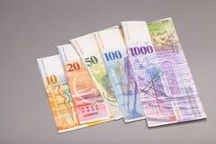 Francos suíços, moeda de switzerland Fotos de Stock Royalty Free