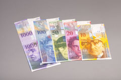 Francos suíços, moeda de switzerland Foto de Stock