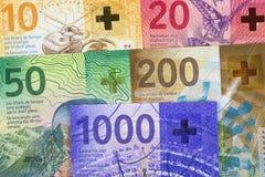 Francos suíços novos, um fundo do negócio imagens de stock royalty free