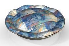 Francos suizos de la empanada del dinero Fotografía de archivo libre de regalías