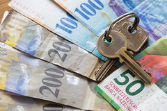 Francos suizos/el concepto el préstamo hipotecario Imagen de archivo libre de regalías